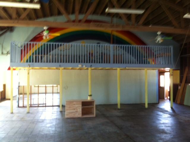 looking at rainbow wall