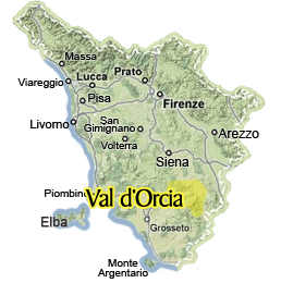 Map of Val d'Orcia region