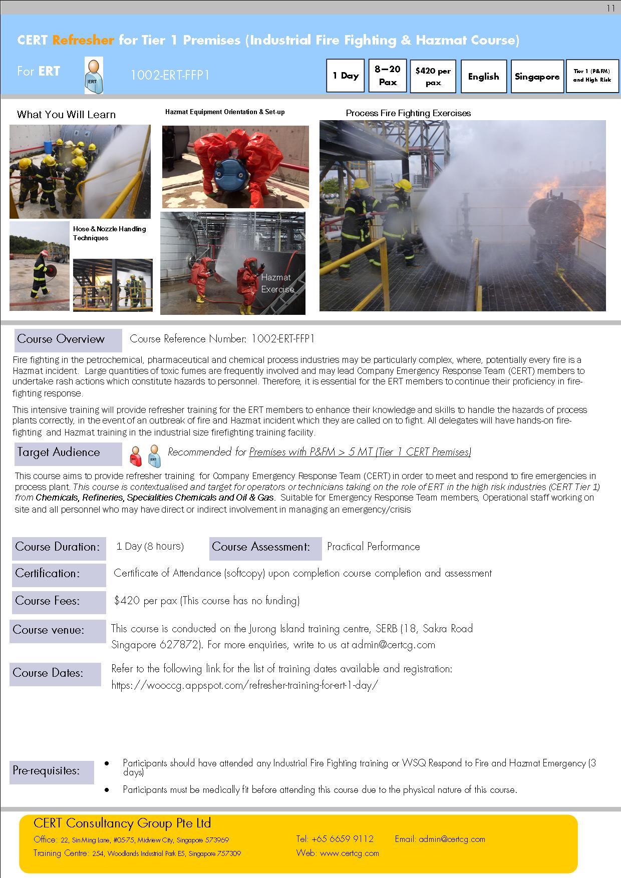 CERT Refresher for Tier 1 Premises (Industrial Fire Fighting & Hazmat Course)