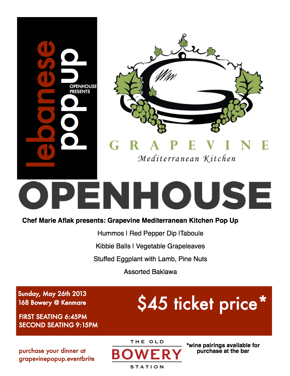 Openhouse The Bowery Station Lebanese Mediterranean Pop Up, Grapevine Bayridge