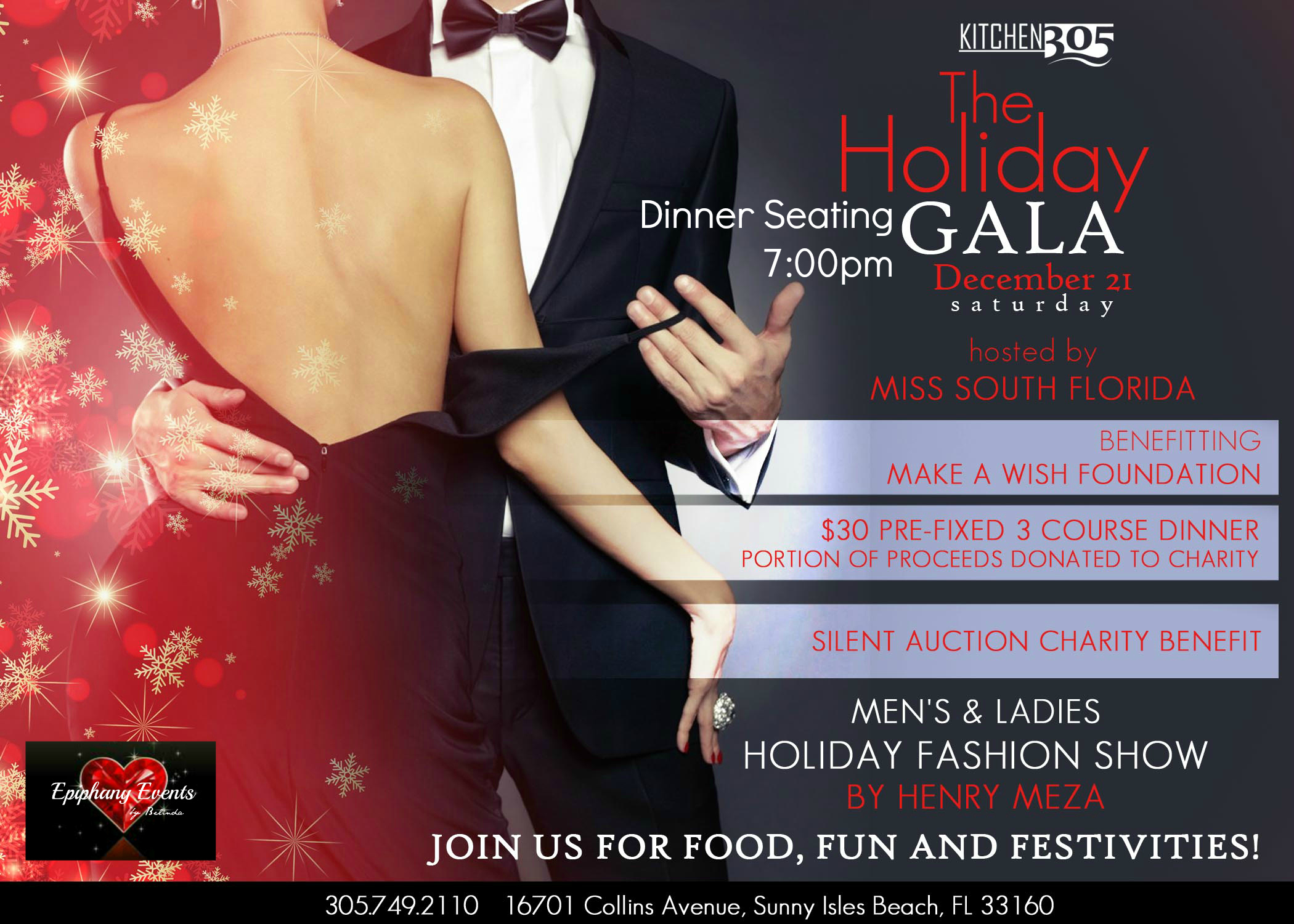 Holiday Gala at Kitchen 305 Newport Beachside Hotel