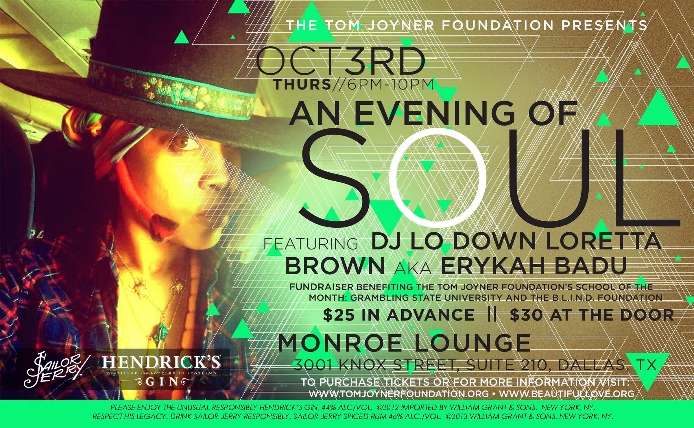 An Evening of Soul Happy Hour w/DJ Lo Down Loretta Brown aka Erykah Badu