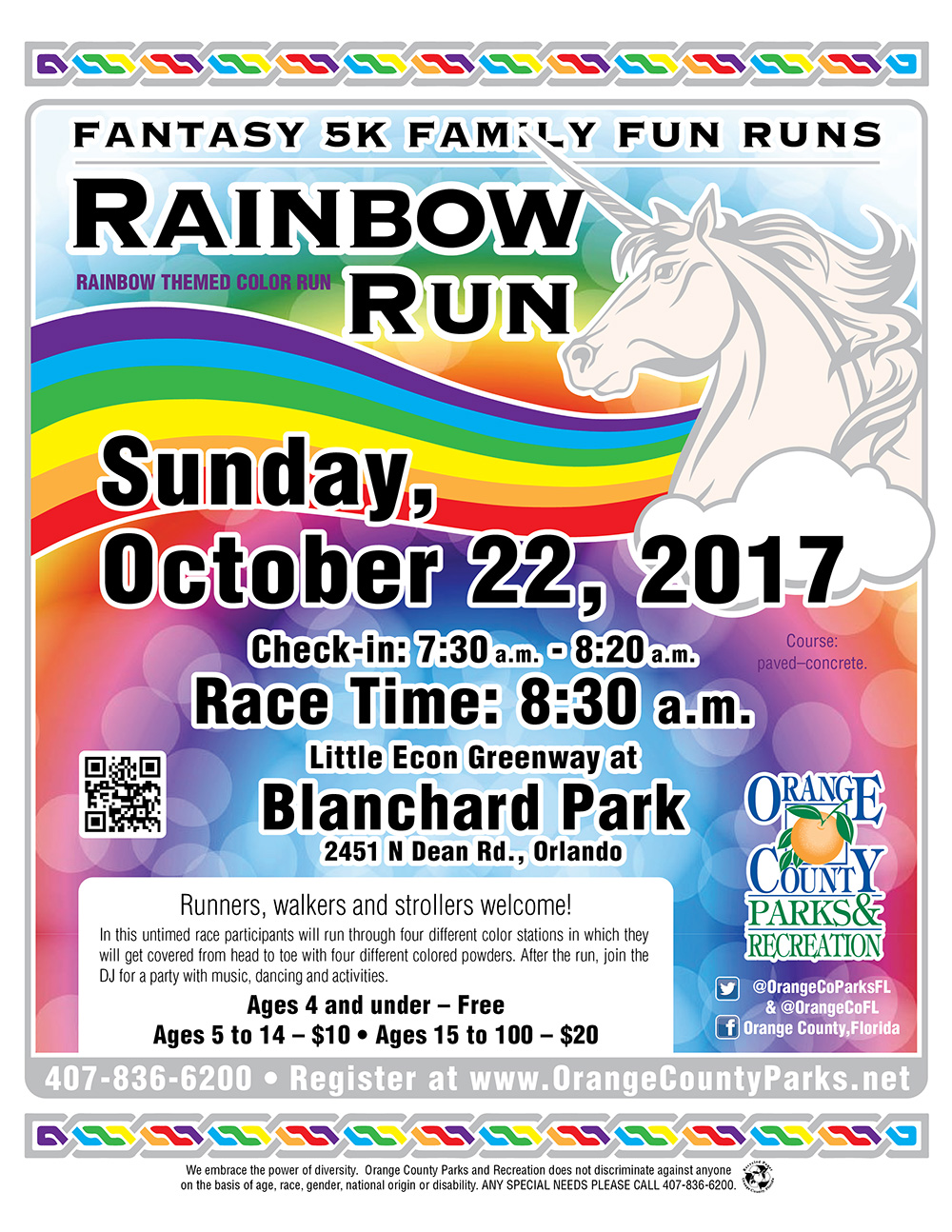 rainbow run oc fantasy 5k family fun runs 2017 registration sun