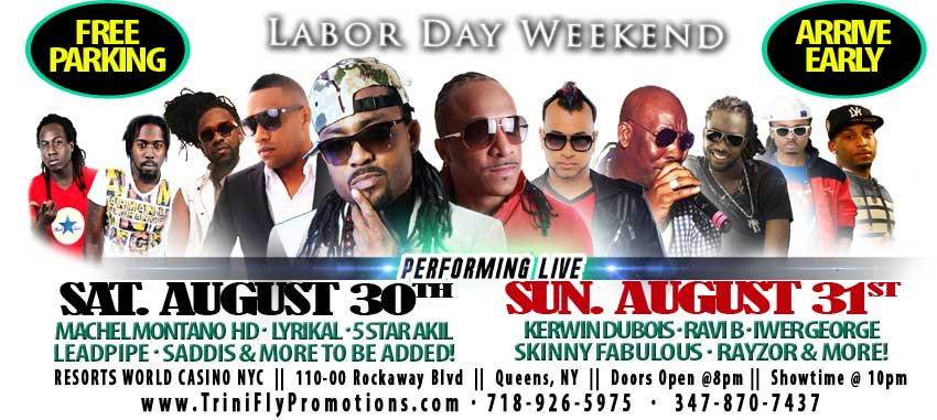 Machel Montano HD, Lyrikal, 5 Star Akil, Leadpipe, Saddis and more on Sun. August 20, 2014
