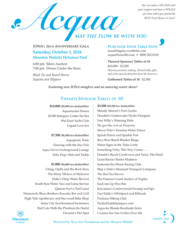 Acqua Table Flyer