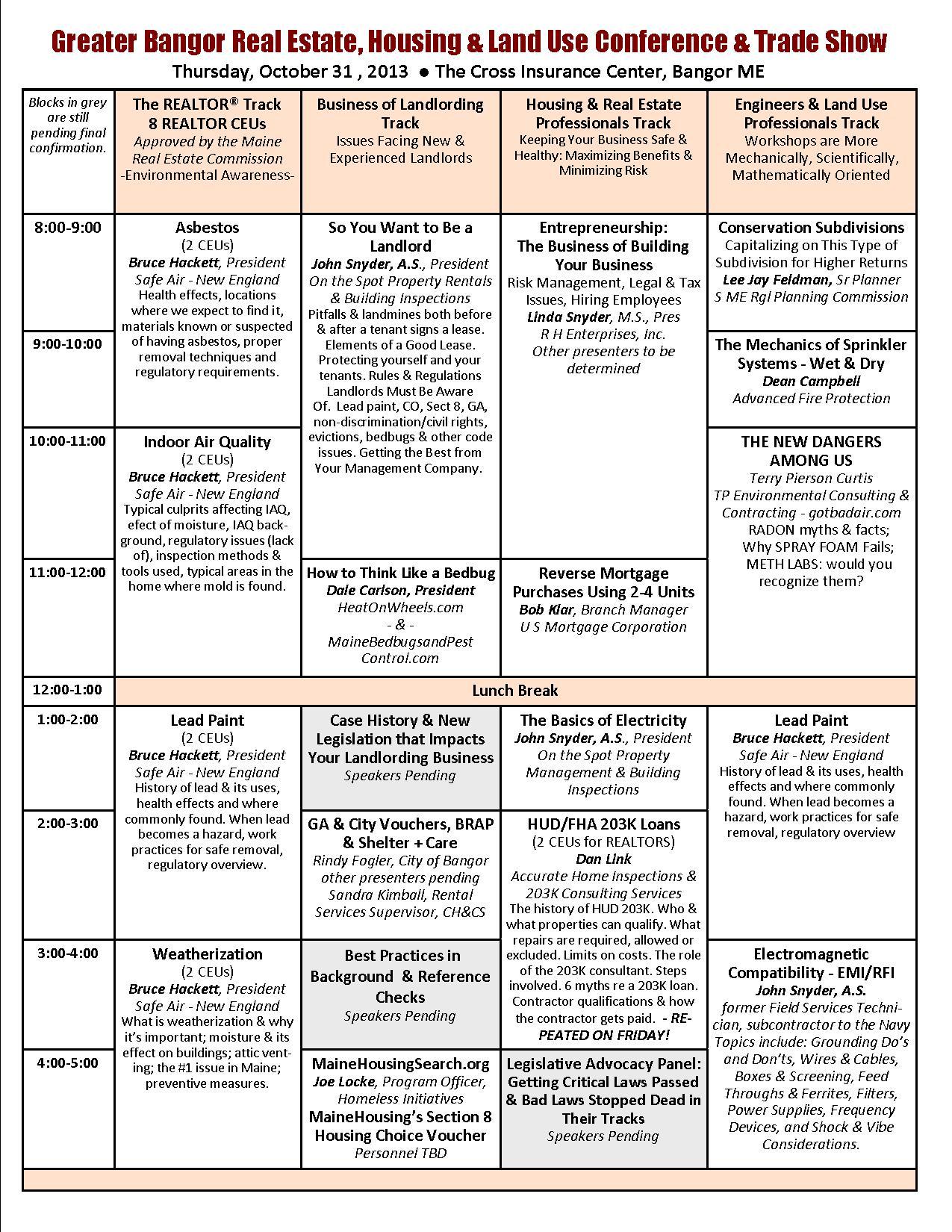Bangor Conference, Thursday Seminars