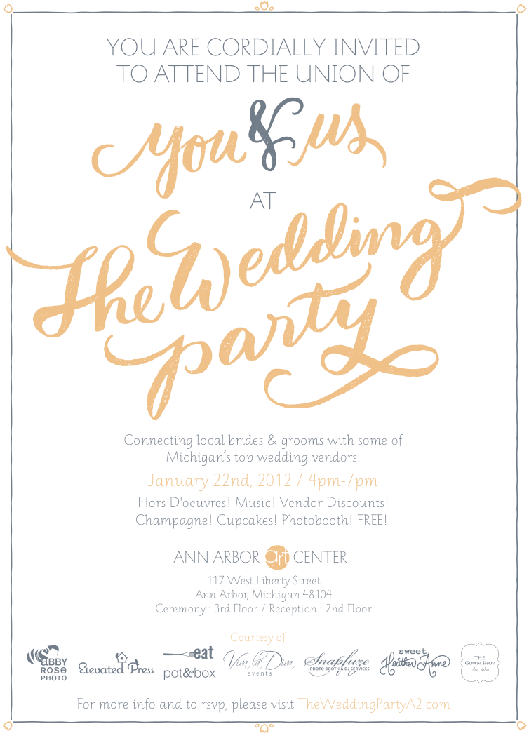The Wedding Party: Connecting local brides & grooms with some of Michigan's top wedding vendors. Hors D'oeuvres, music, vendor discounts, champagne, cupcakes, photobooth, and it's FREE!