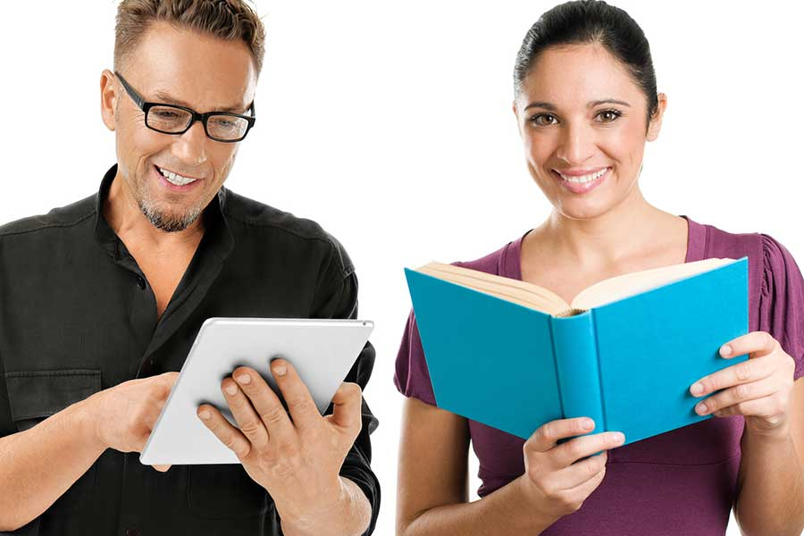 Man reading ebook, woman with printed book