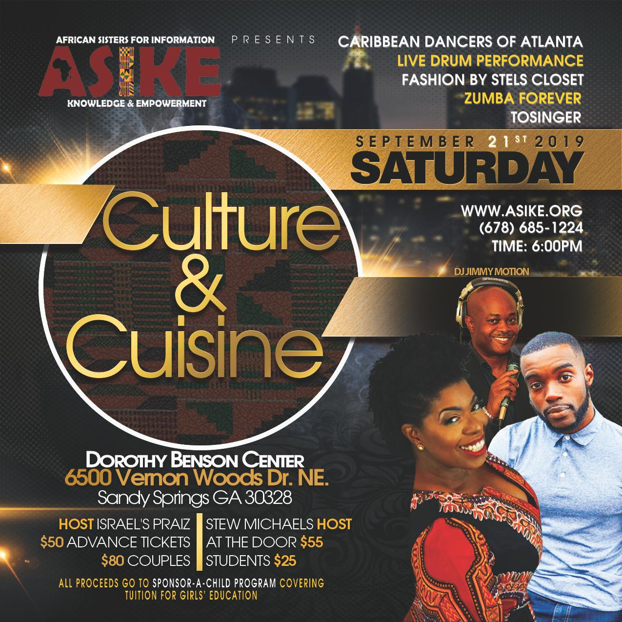You are invited - 2019 African Culture & Cuisine - Sat Sep 21, 2019 @ 6:00 pm @ Dorothy Benson Center, Sandy Springs GA