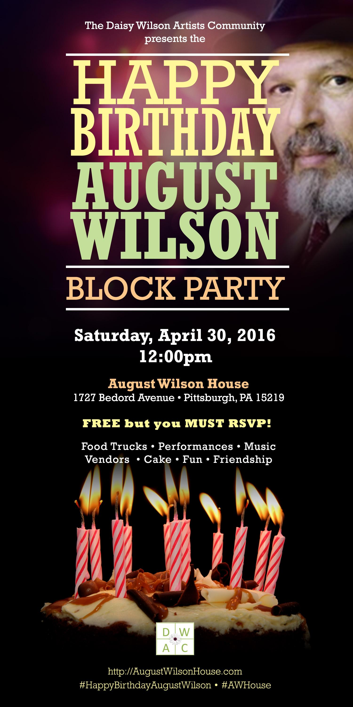 August Wilson Birthday Party Flyer