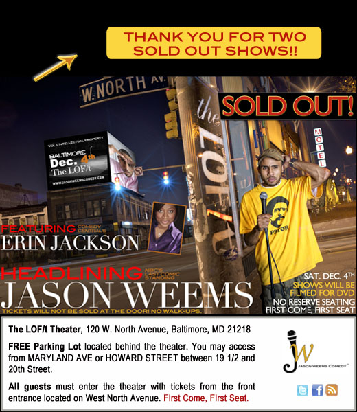 Two Sold Out Shows for Dec. 4th.