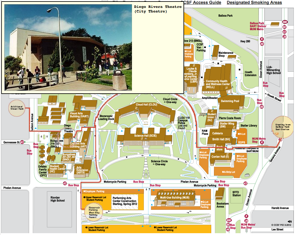 CCSF Campus Map to Diego Rivera Theater