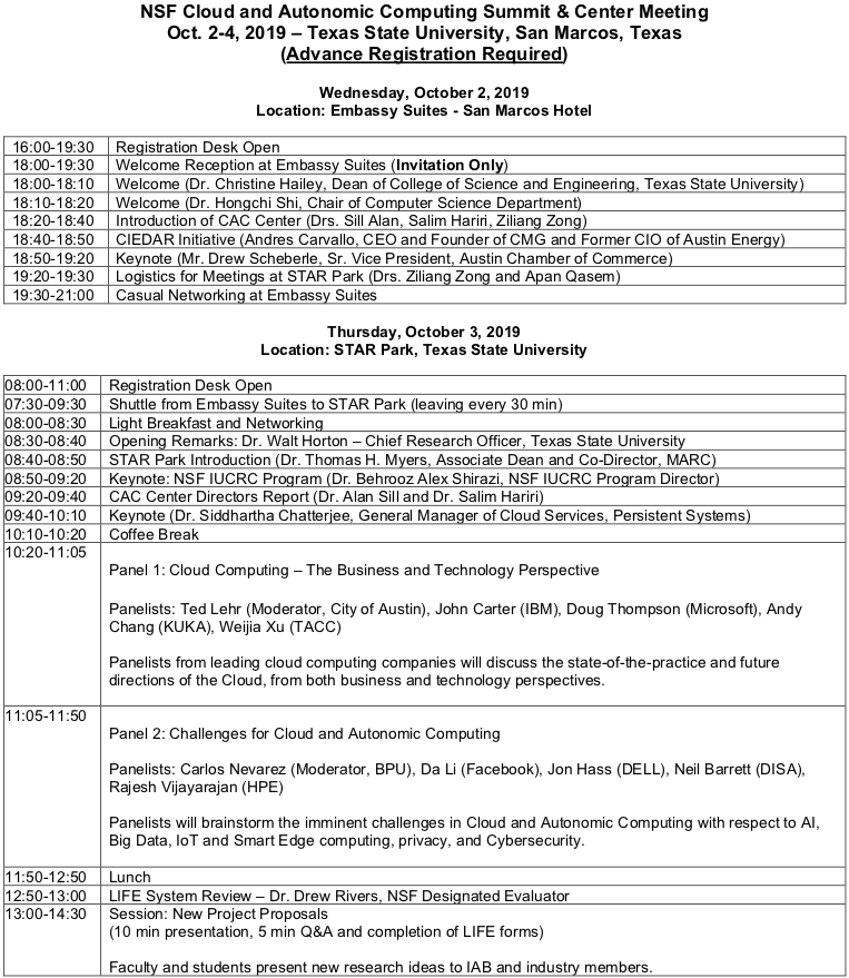 P1 Final NSF Cloud and Autonomic Computing Summit and Center Meeting Agenda