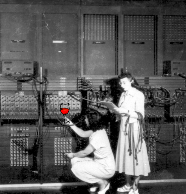 Vintage photo of two female computer scientists enjoying a glass of wine
