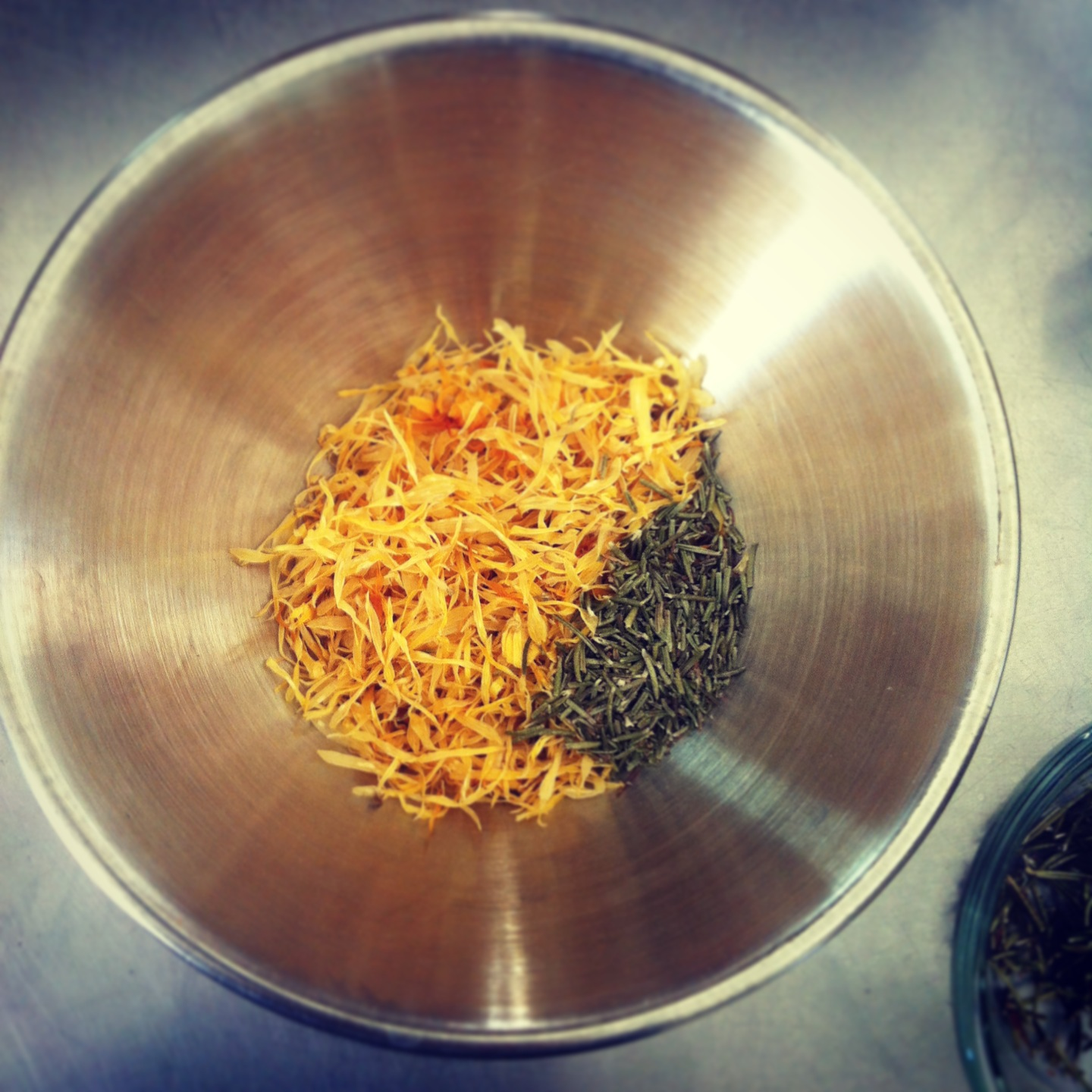 Calendula Blossoms and Rosemary Leaves