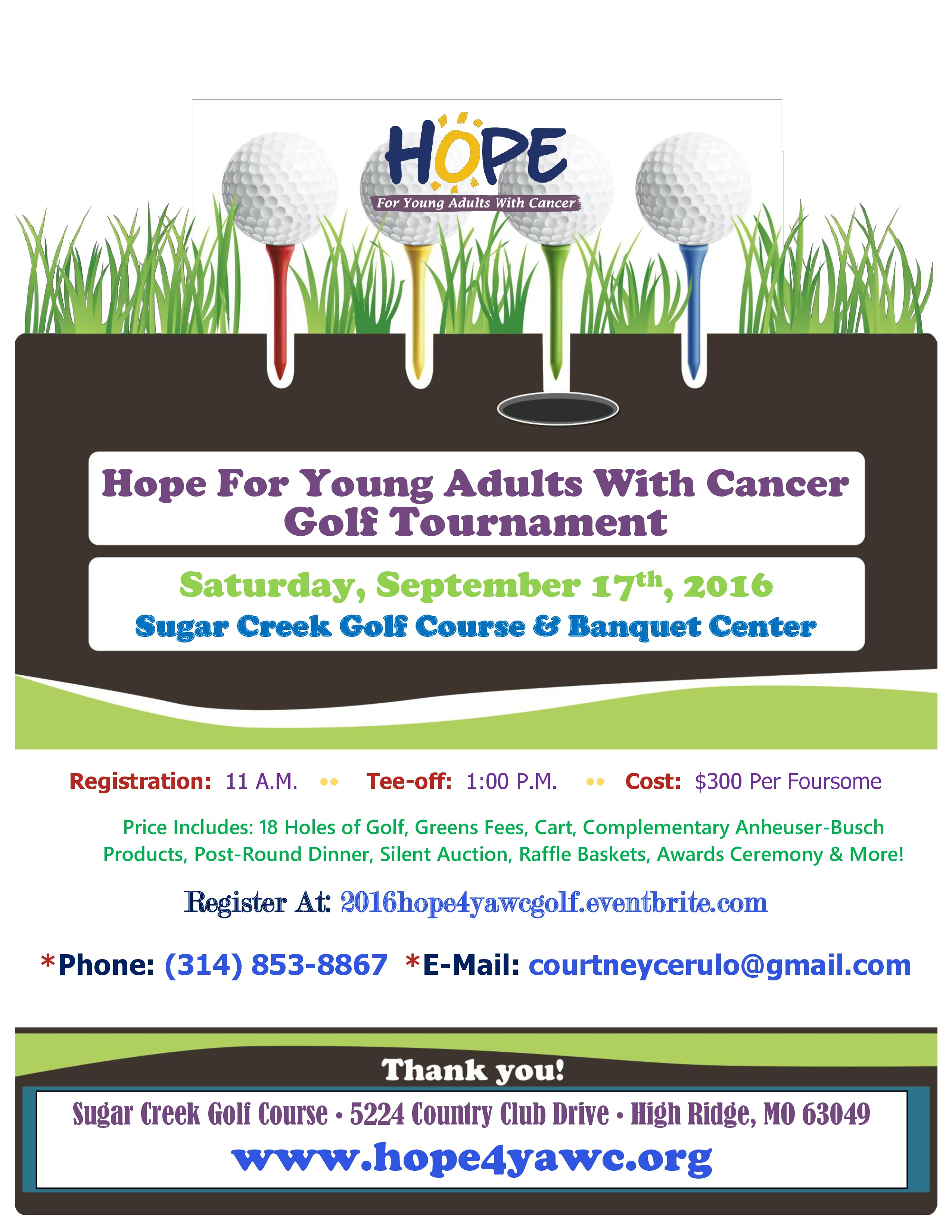 2016 Hope4YAWC Golf Tourney - $300