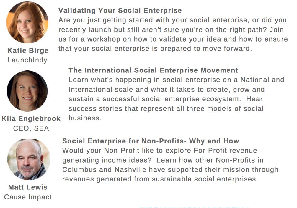 Expert Speakers on Social Enterprise for Central Indiana Social Enterprise Launch