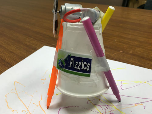 Scribble bot made from a plastic cup, motor, batteries and wires