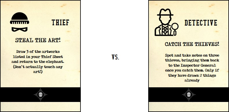 Half-Monster Heist cards for showing teams: thieves or detectives