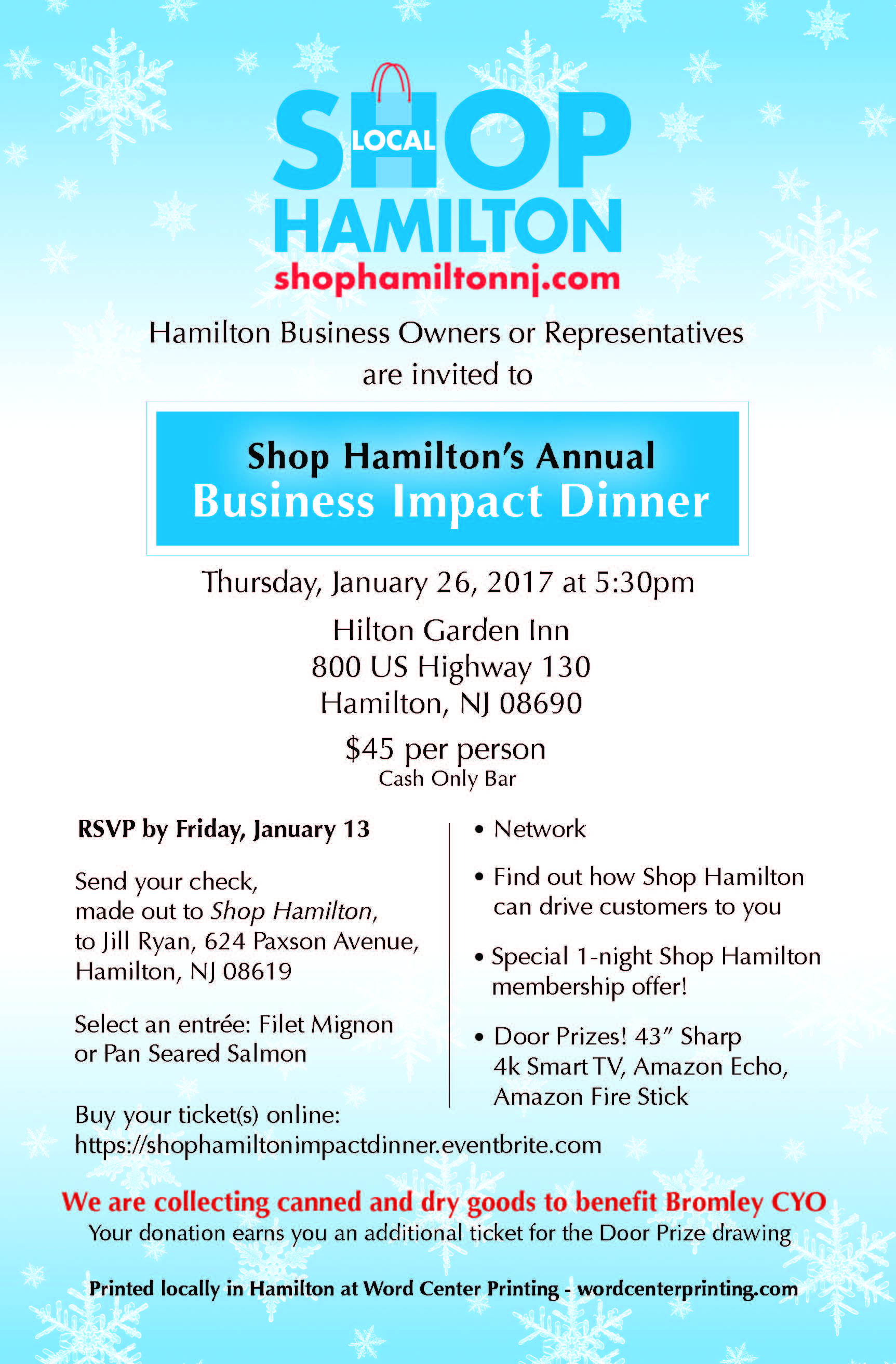 shop hamilton impact dinner tickets thu jan 26 2017 at 5 30 pm business owners you are important to us