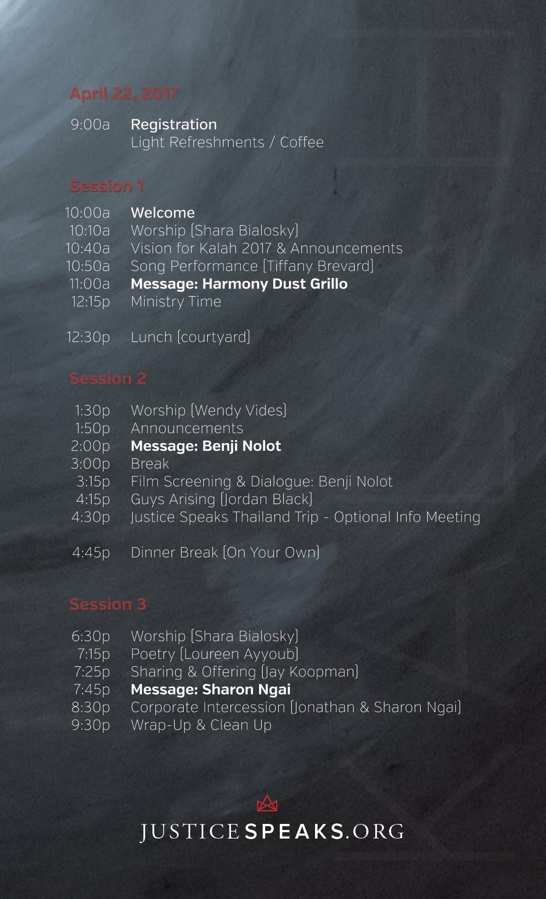 Kalah2017 Schedule