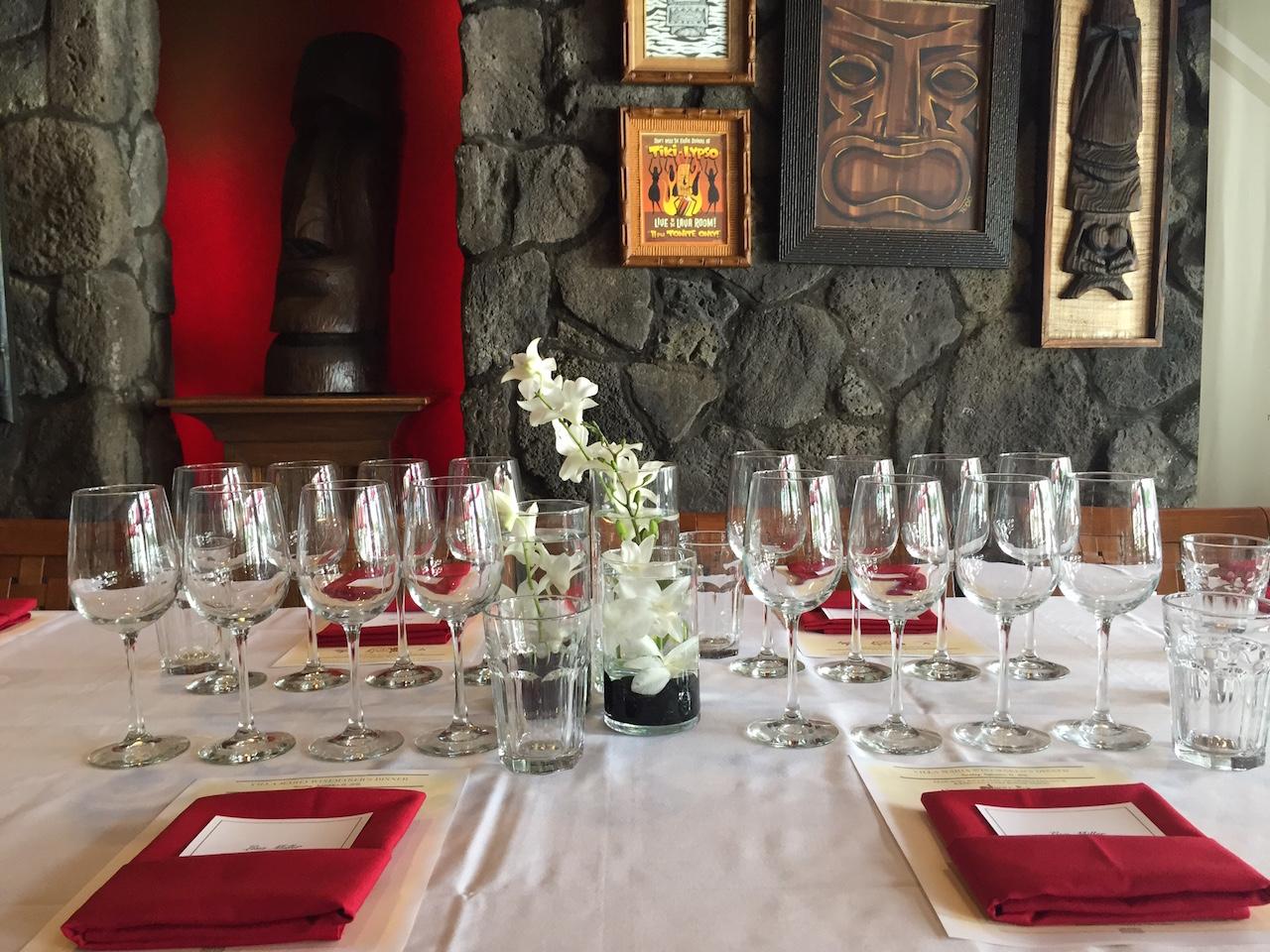 Tiki's Grill & Bar Wine Dinner Table Setting
