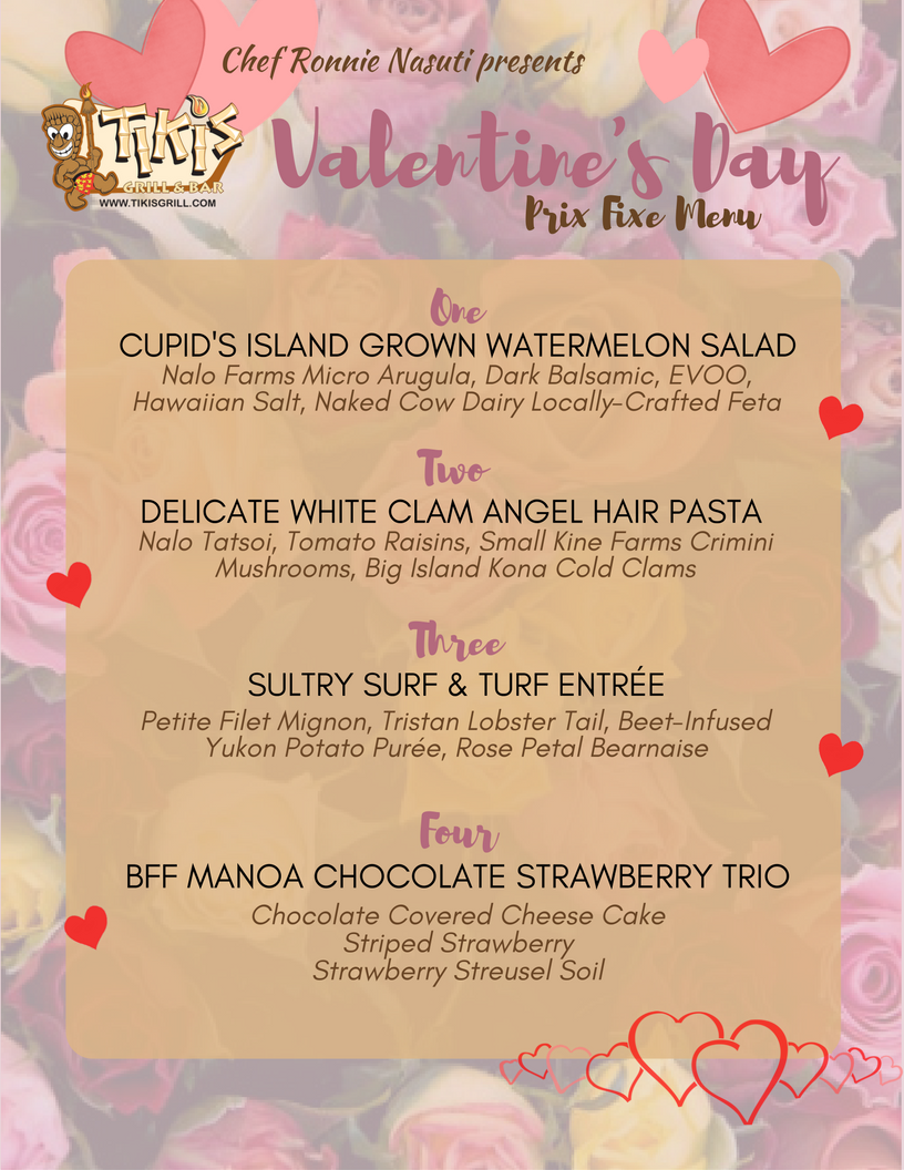 Valentine's Day Menu Tiki's Waikiki 2017