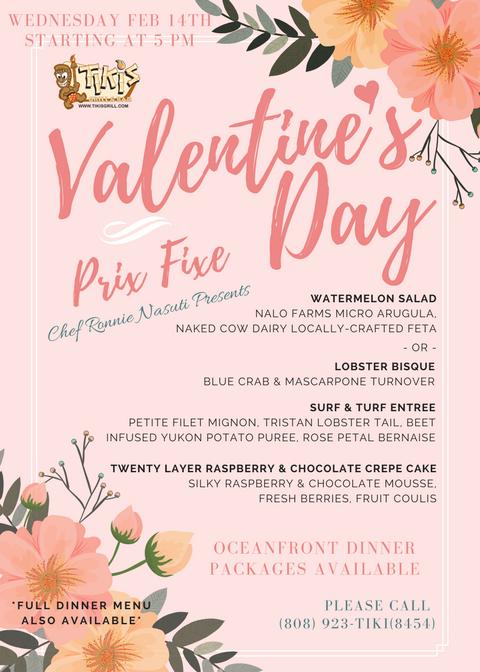 Tiki's Grill & Bar Valentine's Day Prix Fixe Menu