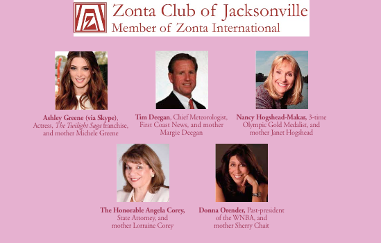 Local Jacksonville Celebrities Honoring Mom - Ashley Greene (via Skype) Tim Deegan, Nancy Hogshead-Makar, Hon. Angela Corey, and Donna Orender