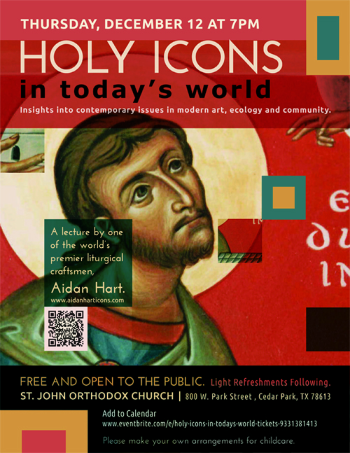 Flyer for Aidan Hart's Lecture: Holy Icons in Today's World