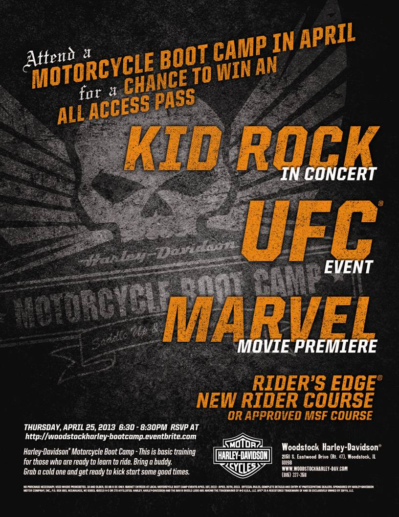 Woodstock Harley Boot Camp Flyer