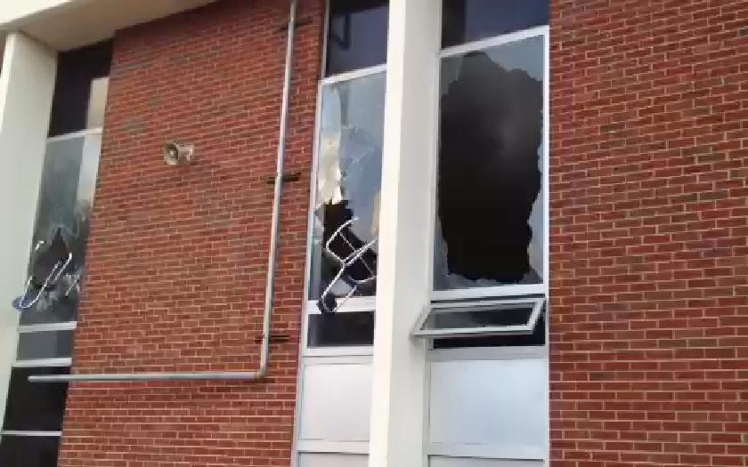 broken school window