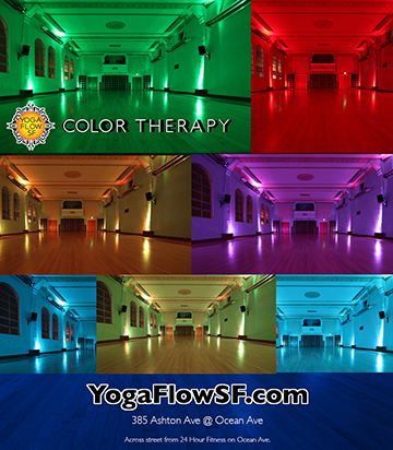Yoga Flow SF's lighting can saturate the room in over 16,000 different colors with the swipe of a finger.