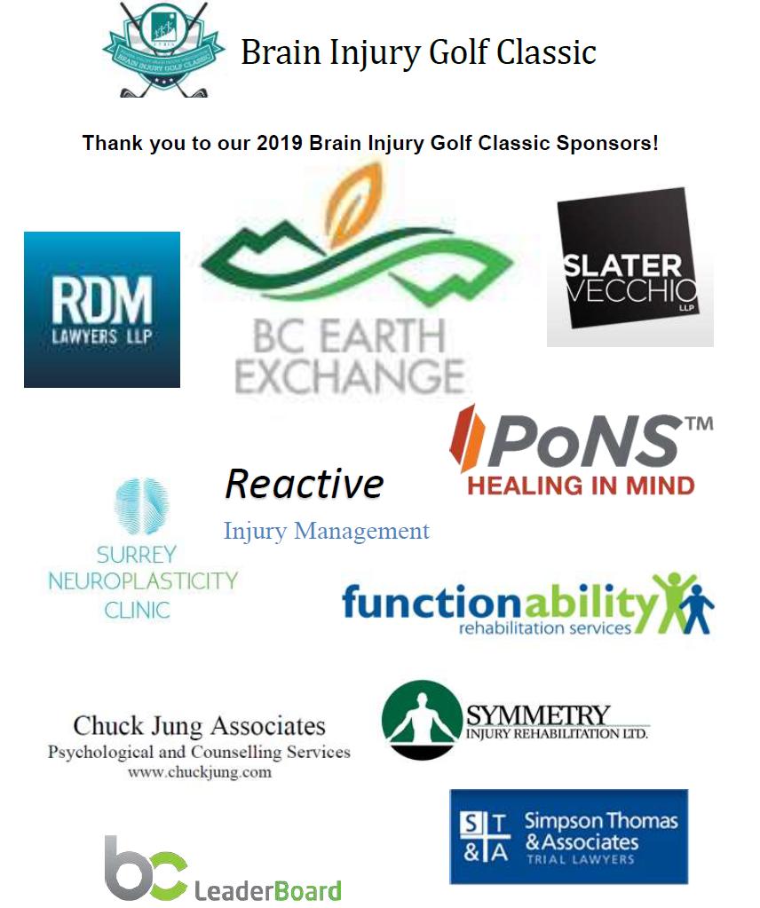 Brain Injury Golf Classic Sponsors 2019