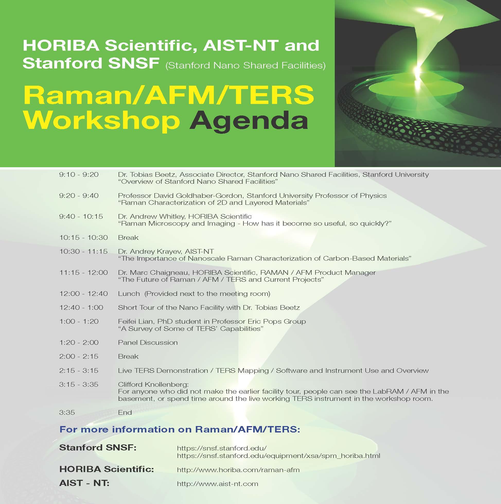 Agenda for the Raman/AFM/TERS Workshop