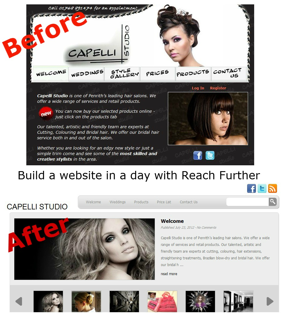 Before and after shots of Capelli Studio website