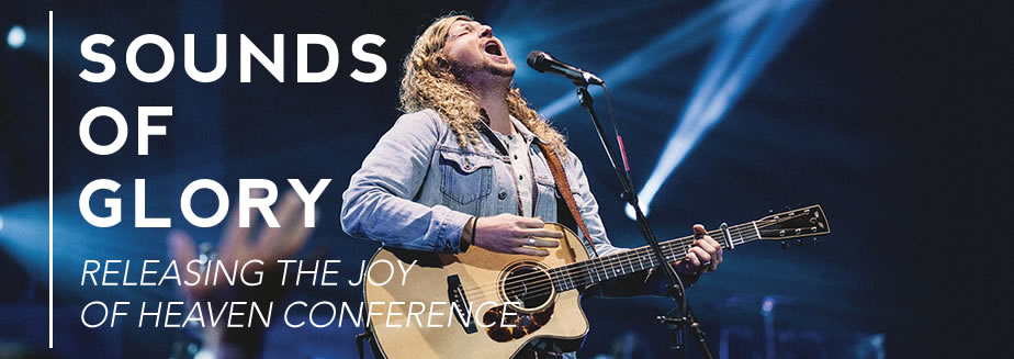 Promo banner for Sounds of Glory Conference with picture of Sean Feucht