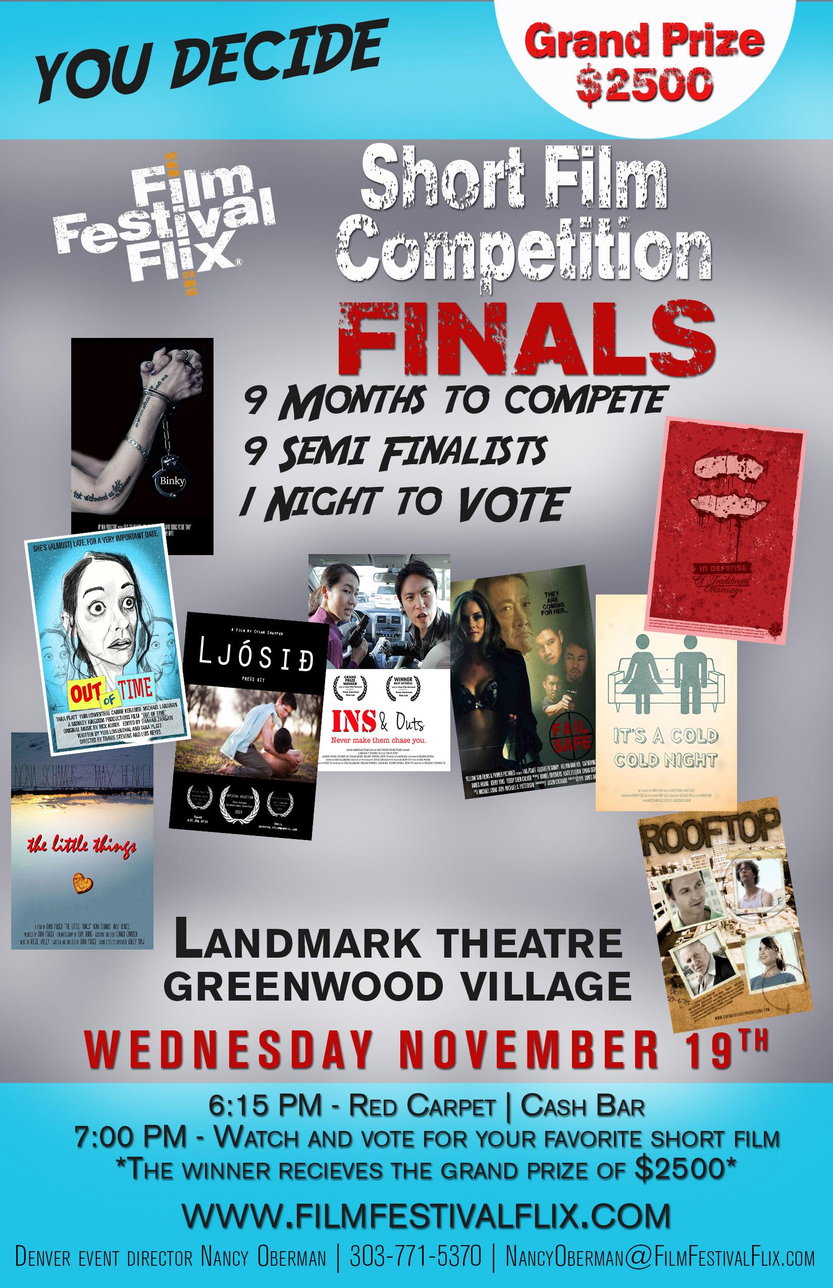 Details for the DenverShort Film Competition Finals 2014
