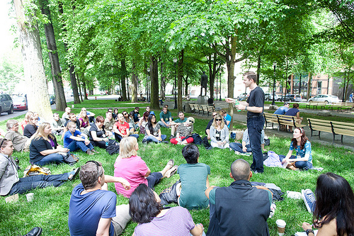 Travel hackers meet in the park