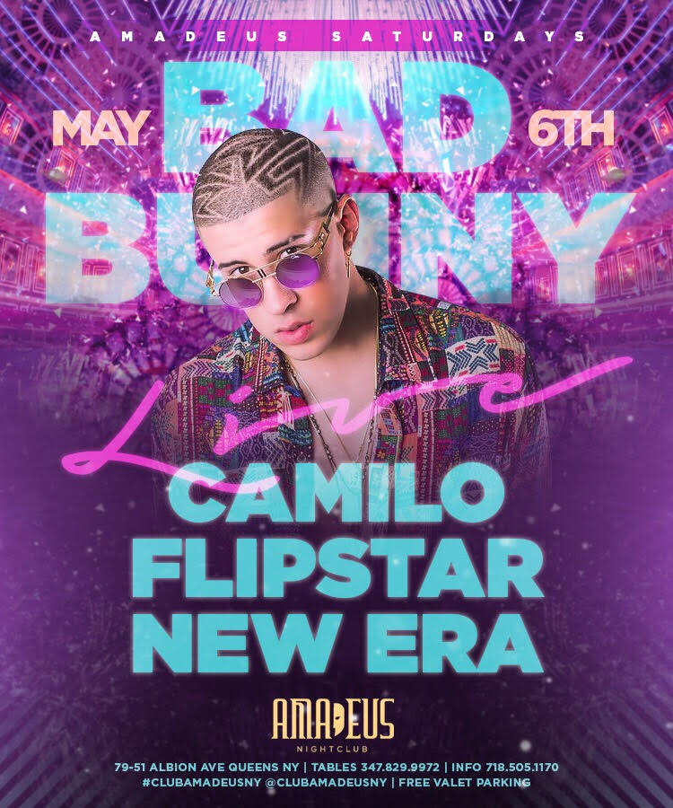 Bad Bunny Live at Amadeus Nightclub in Queens, NY
