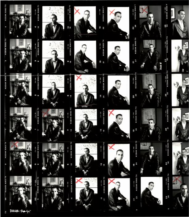 Multiple black and white images of author Will Self