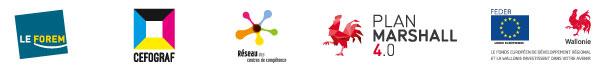 Logos du Forem, du Cefograf, du réseau des CDC, du Plan Marshal 4.0 et du FEDER