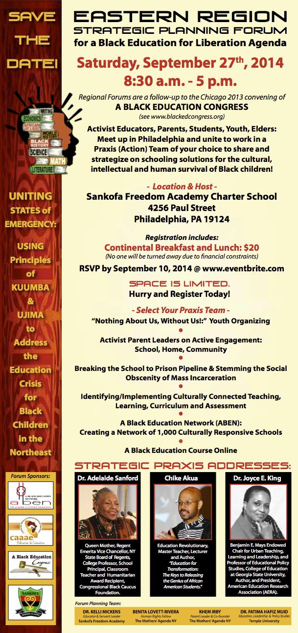 Black Ed Forum EASTERN REGION Invitation