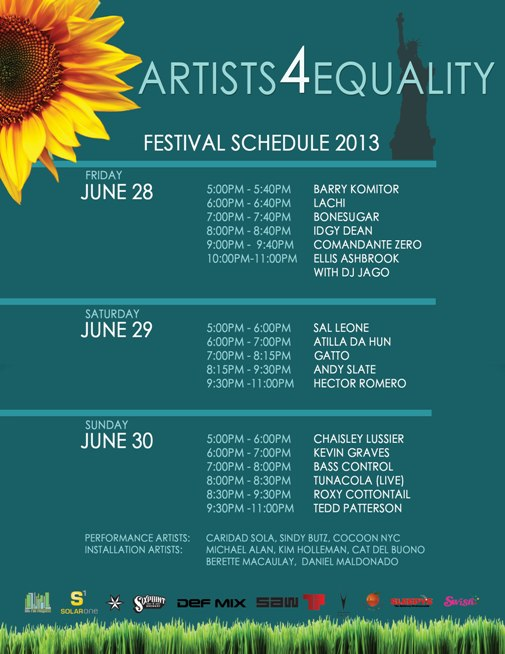 Artists4Equality Festival Schedule