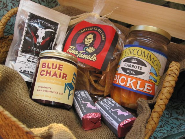 Blue Chair Fruit Jam, Wonky Kale Chips, Tina Tamale Lardy Tortilla Chips, Oaktown Jerk Jerky, Chunky Candied Bacon Caramel Corn, Oakland Chocolate Co. Spicy Chocolate Almonds and other local favorites.