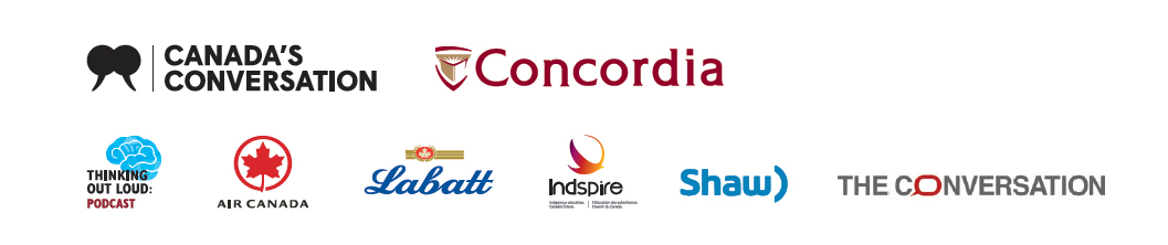 Sponsor logos: Concordia, Air Canada, Labatt, Indspire, Shaw, The Conversation