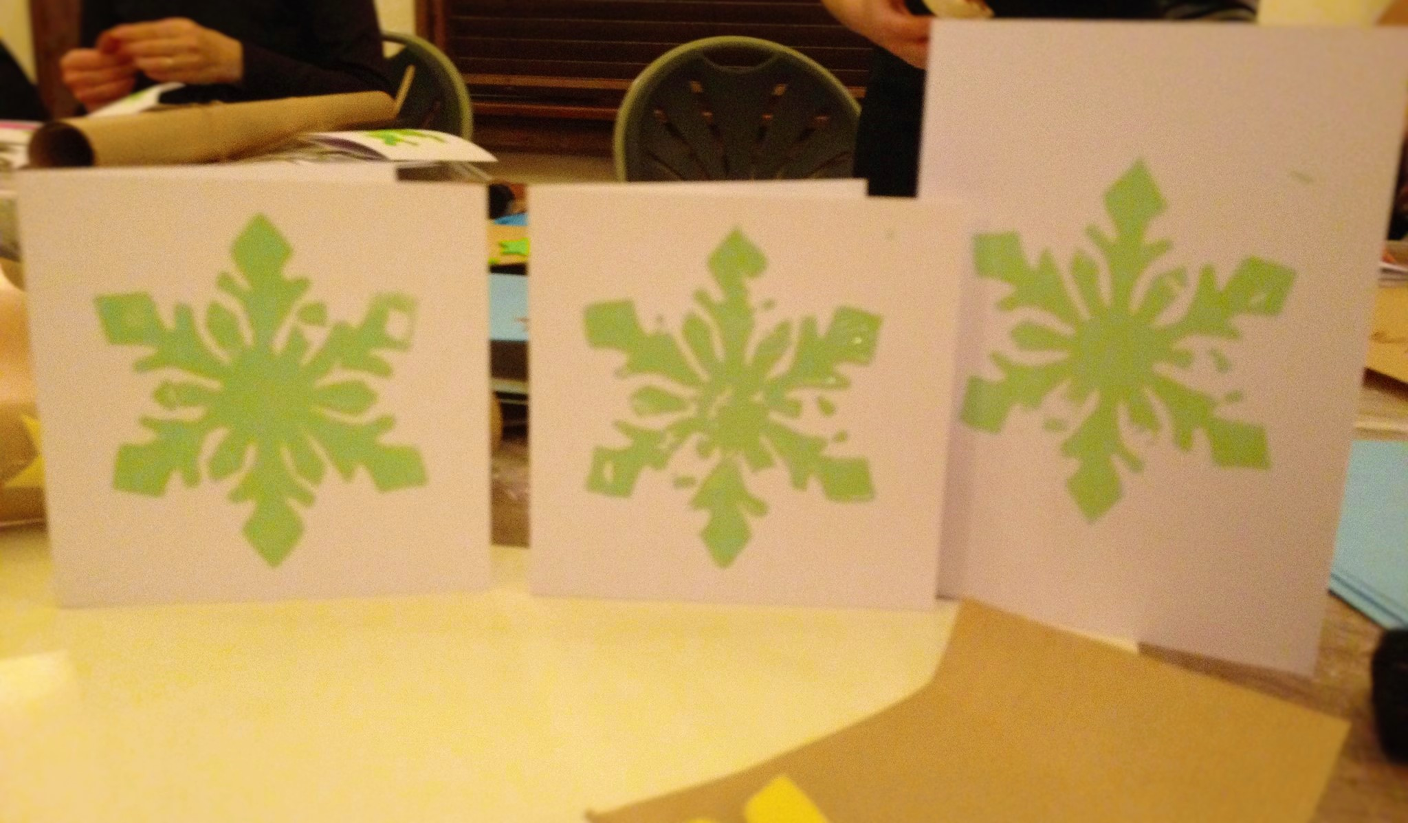 Make lino printed Christmas cards