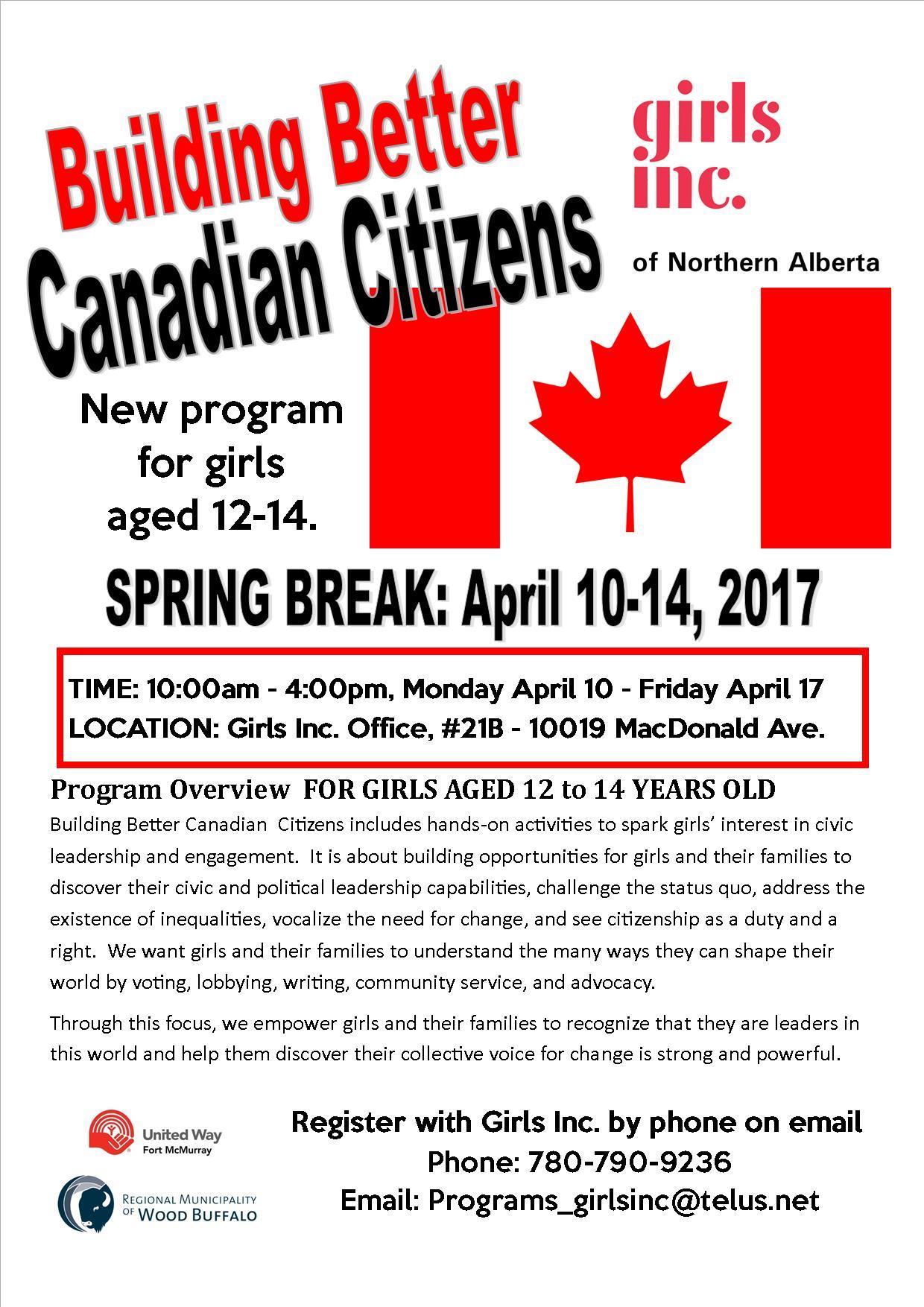 Building Better Canadian Citizens - Program Poster