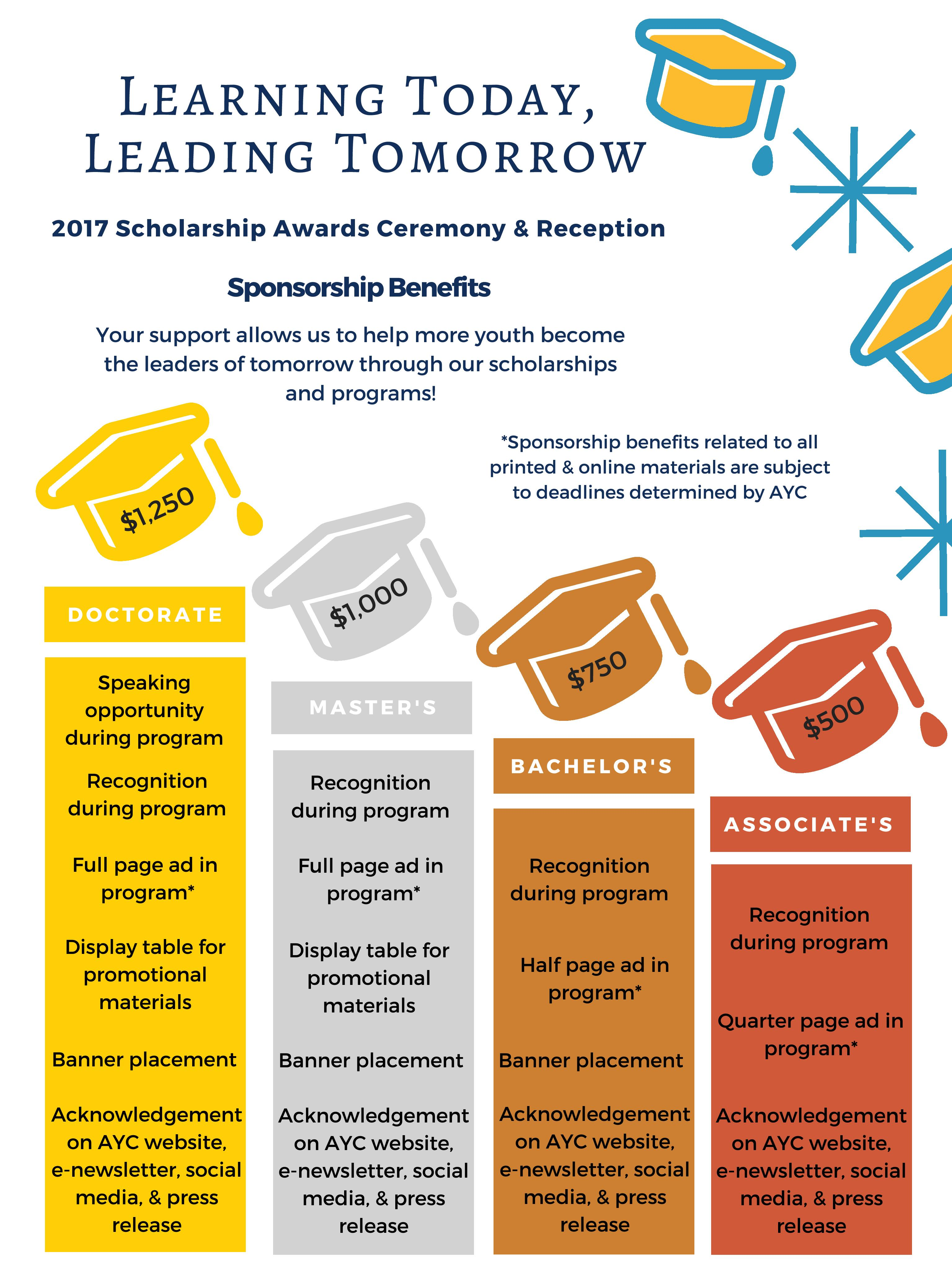 2017 Scholarship Awards Sponsorship Benefits