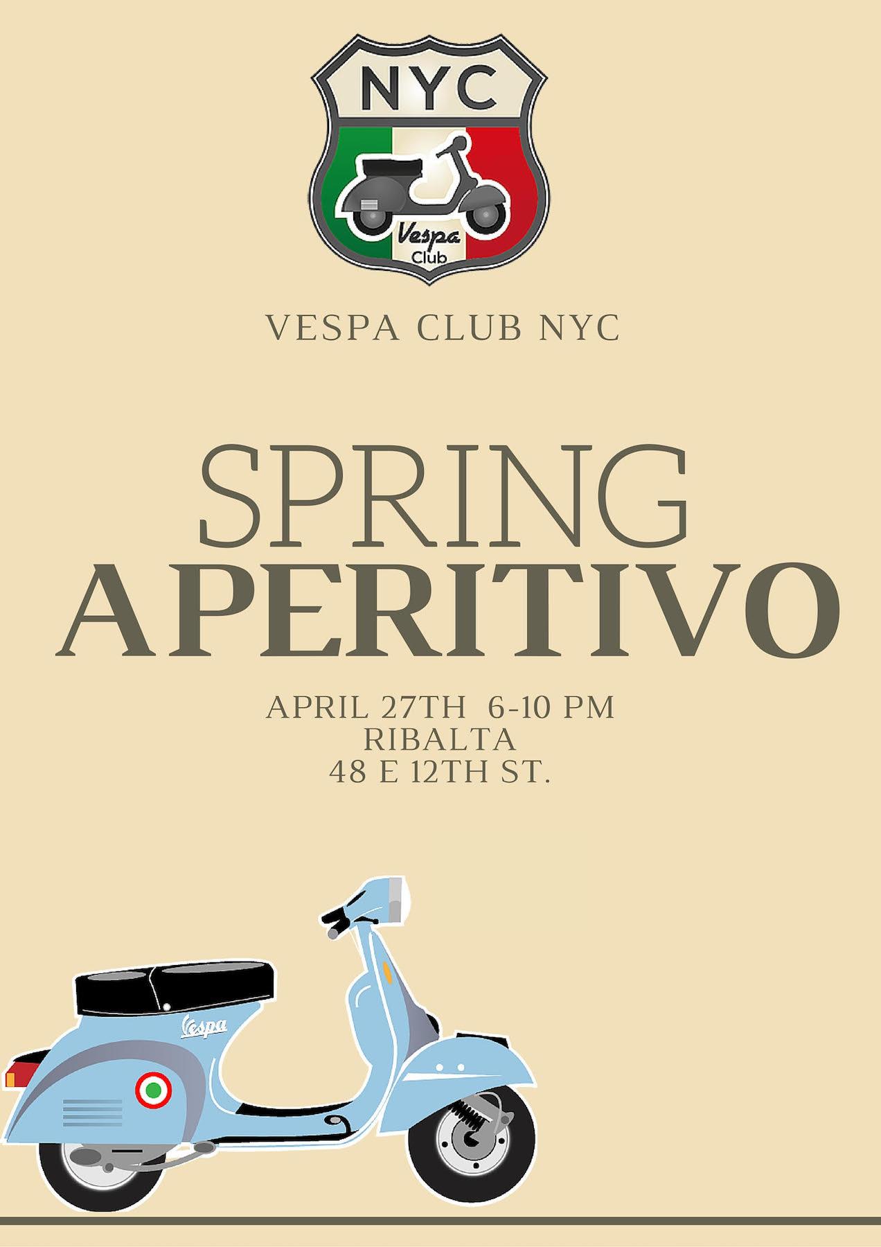 Vespa Club NYC Aperitivo at Ribalta on April 27